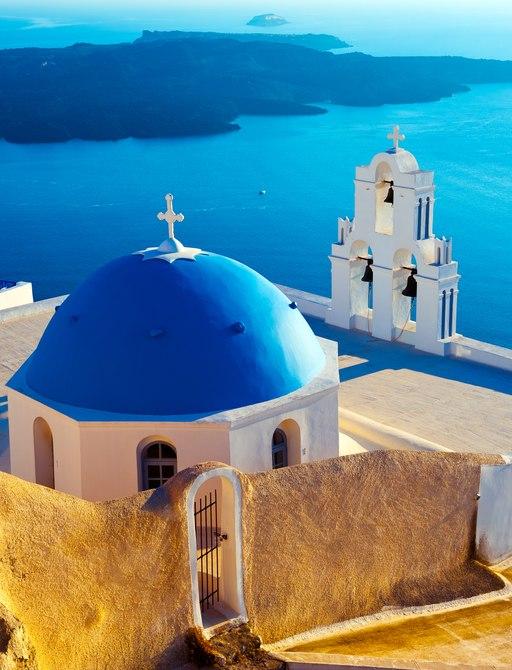 Blue domed buildings in Santorini in Greece