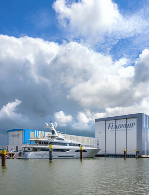 superyacht W outside feadship outing shed
