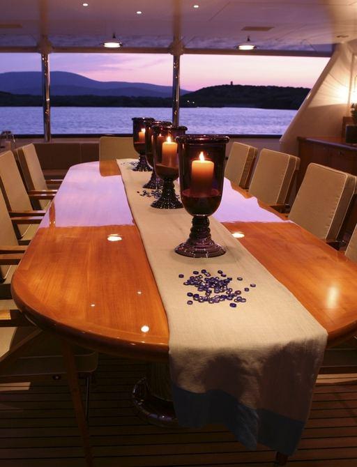 luxury motor yacht PEGASUS sheltered al freso dining area on teak deck