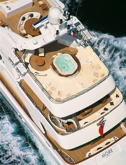 aerial view of Benetti motor yacht MORE's (attending the Cannes Yachting Festival 2015) sundeck Jacuzzi