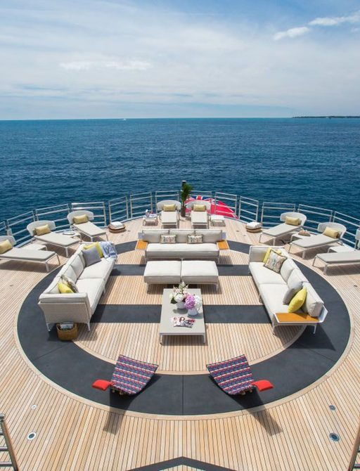 helipad /sundeck set up on superyacht naia