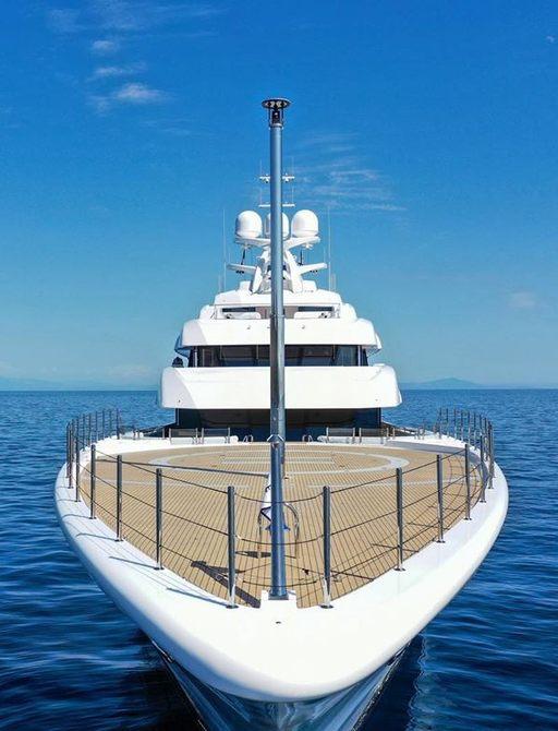 Front view shot of superyacht MADSUMMER