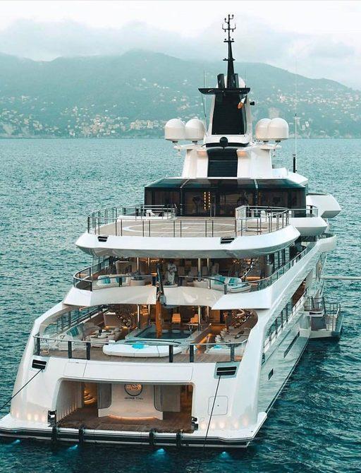 distant shot of the designer decks of luxury superyacht Lady S