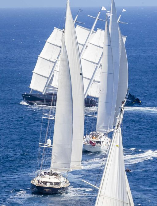charter yacht Maltese Falcon heads up the racing fleet at the Perini Navi Cup 2018 in Sardinia