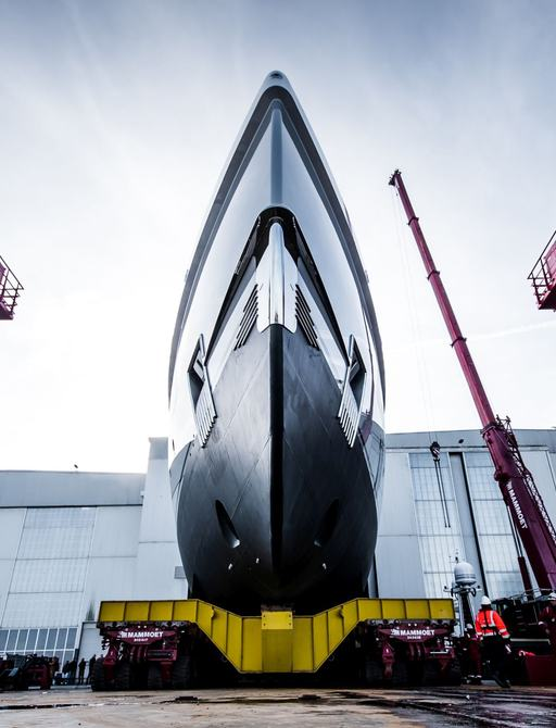 amels yacht rolls out of shed