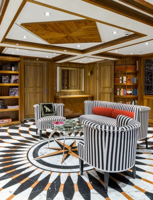 LEGEND yacht library with compass floor