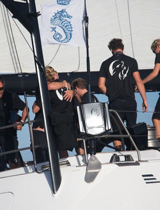 Sailing yacht 'Lupa of London' celebrating their win