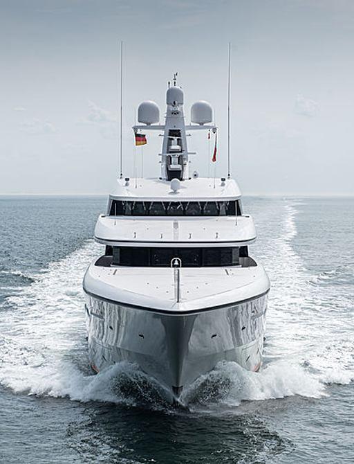 luxury yacht soaring underway during sea trials