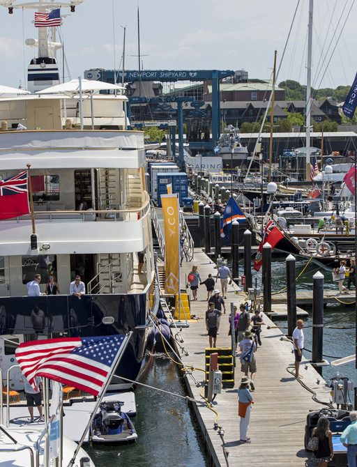 busy boardwalks at the Newport Charter Yacht Show