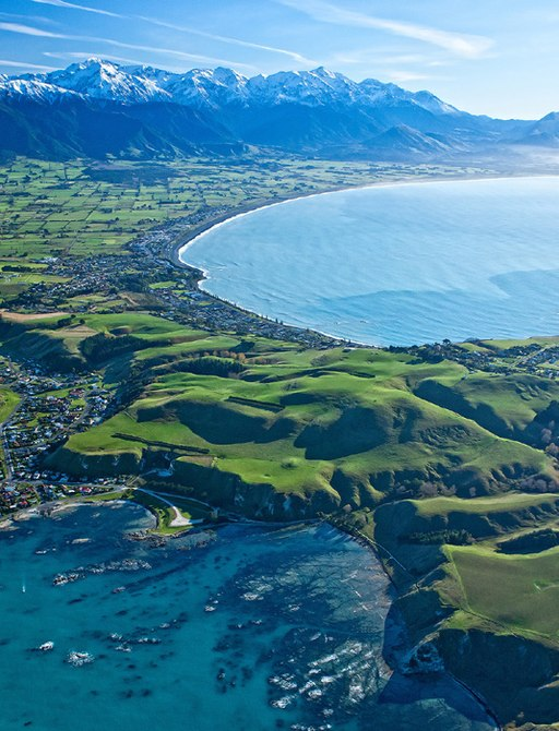 aerial view of Kaikoura in New Zealand