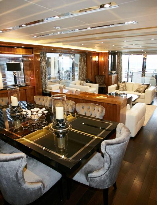 Dining salon on motor yacht No.9 of London