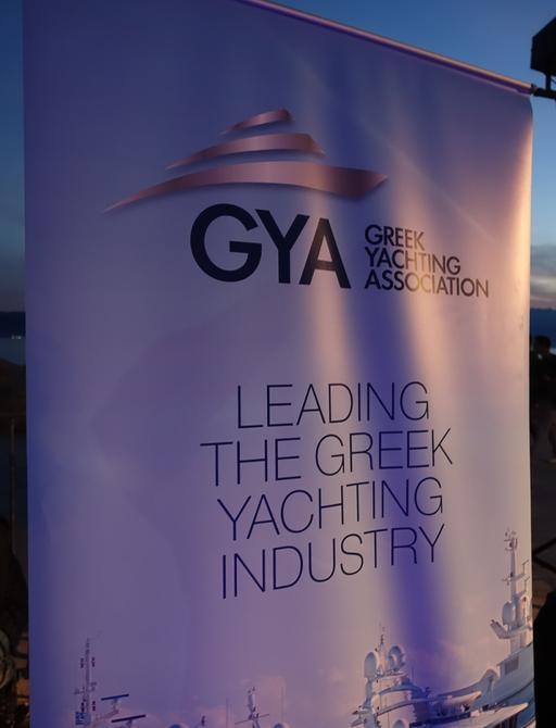GYA banner at Greek yacht charter show