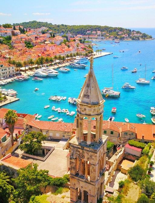 Scenic view over Hvar in Croatia