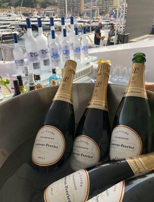 champagne in ice bucket at monaco grand prix