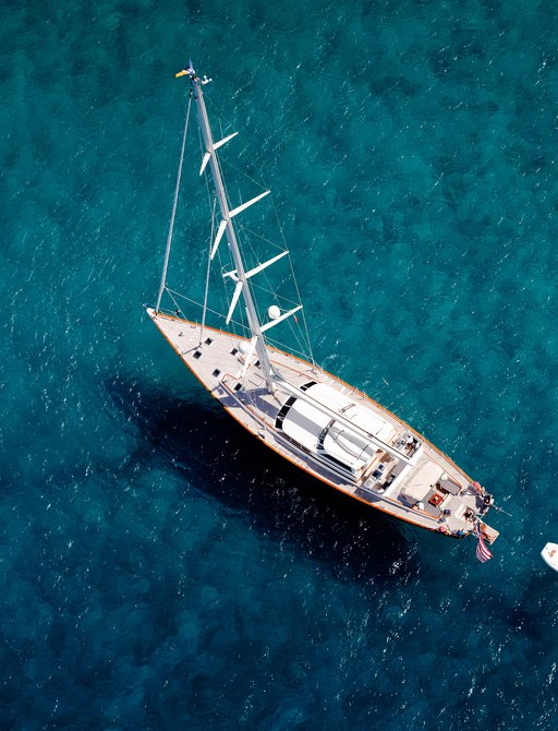 aerial view of sailing yacht MARAE anchored on charter in New England