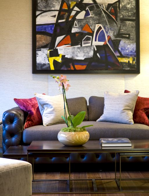 lounge area on board motor yacht 'Indian Empress' with Picasso painting
