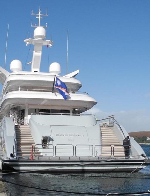 View of the stern of motor yacht Odessa II when cruising on charter