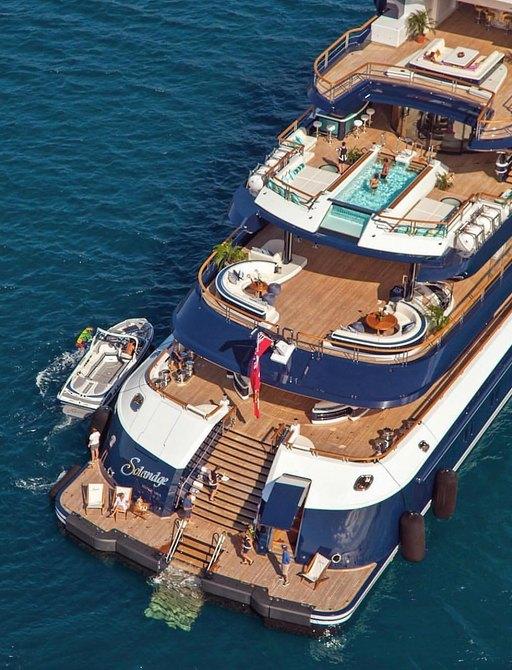 Aerial image of luxury yacht SOLANDGE