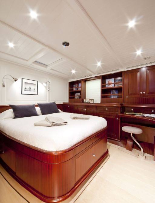 traditionally styled master suite on board superyacht ANNAGINE