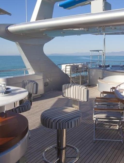 superyacht SOFIA 3's fly bridge with bar and jacuzzi