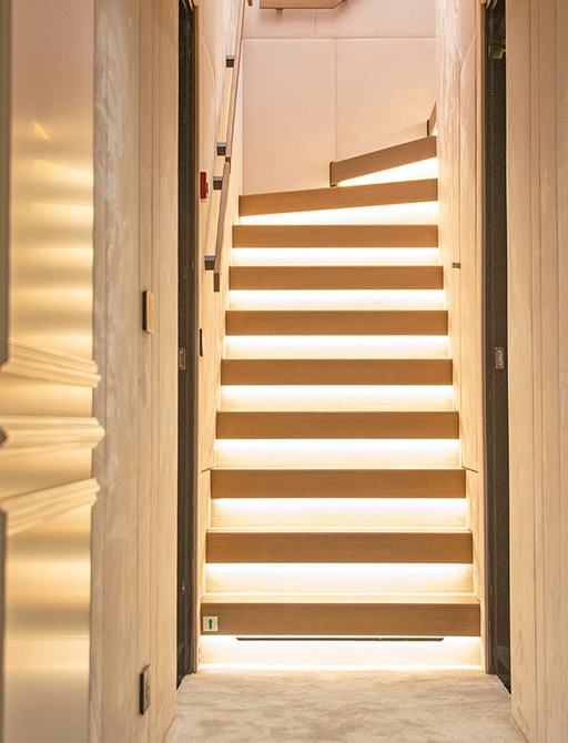 stairs inside superyacht geco