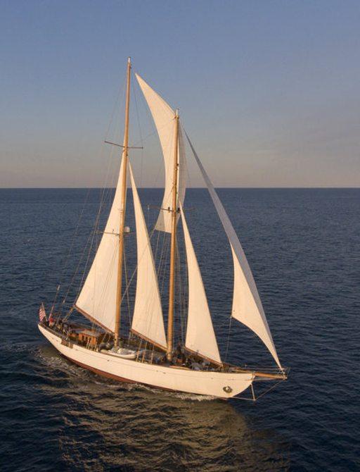 superyacht EROS underway during a Caribbean yacht charter
