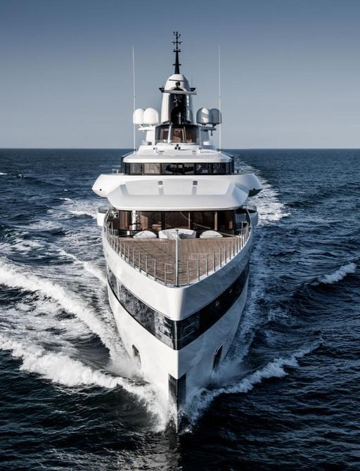 Dramatic shot of bow of charter yacht Lady S