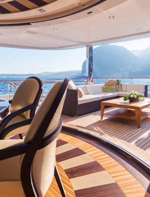 Dining area on Feadship luxury yacht W