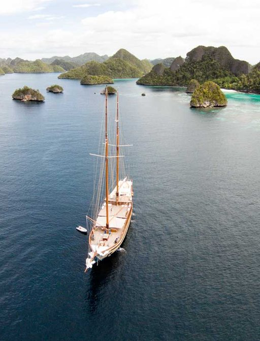Lamima yacht aerail view as she cruises in South East Asia