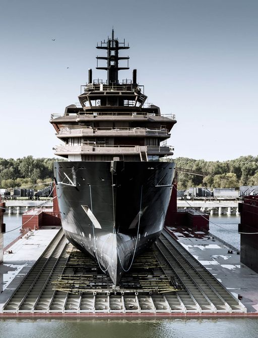 Superyacht REV as seen from head-on