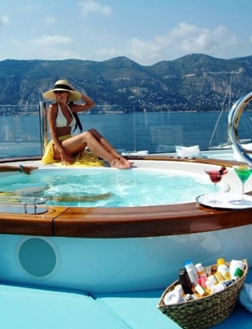 luxury yacht OASIS's deck Jacuzzi