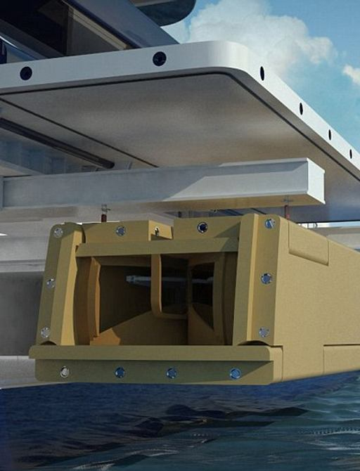 charter yacht's floating island would be stored in transom