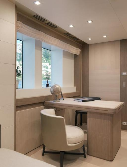office adjoining the master suite of superyacht katia