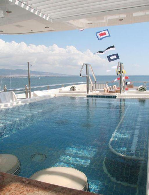 Large swimming pool on motor yacht Titania