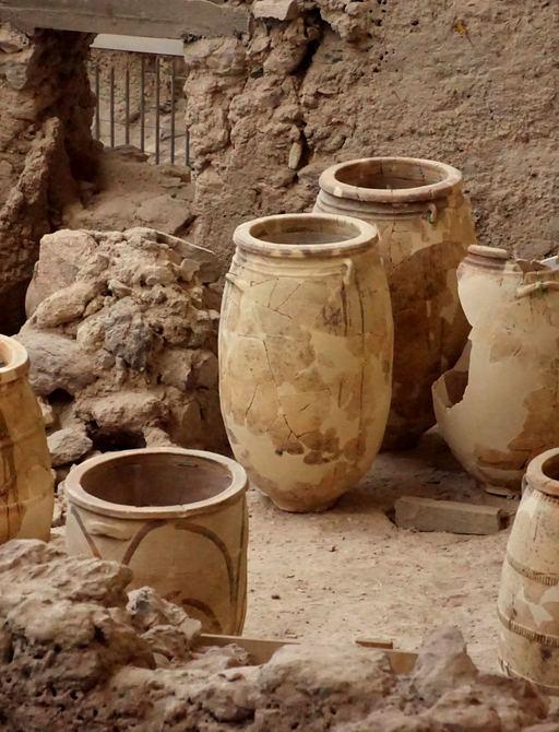 Pottery in Akrotiri Greece