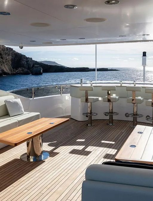Sunseeker yacht ANYA sundeck, with lounge area and curved bar