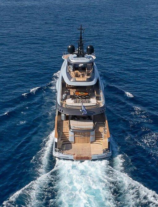 luxury superyacht geco stern view while cruising way