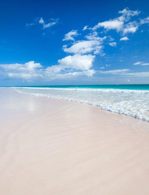 long stretch of beach on Eleuthera, Bahamas