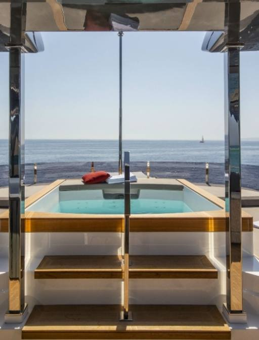 Pool on sundeck of superyacht PENELOPE