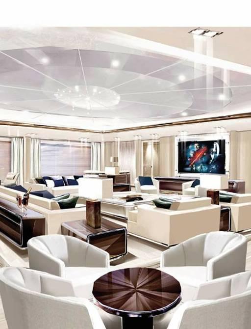 main salon on luxury yacht o'pari