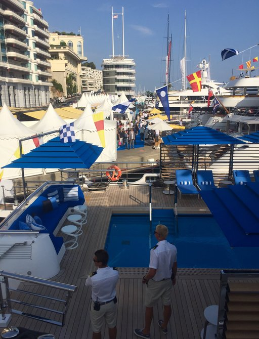 the swimming pool aboard superyacht SEASENSE captured at the Monaco Yacht Show 2017