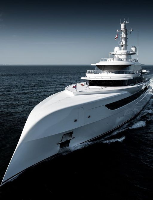 Bow of excellence yacht while underway during sea trials