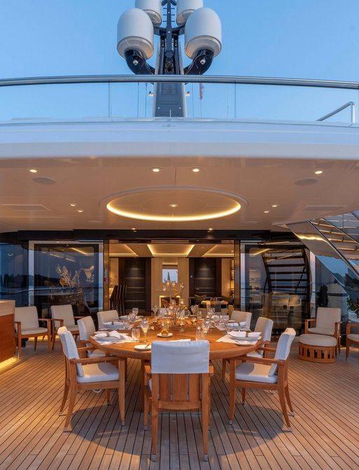 dining set-up on megayacht lunasea
