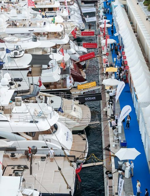 busy boardwalks with brokers exhibiting alongside their superyachts at the Monaco Yacht Show 2018