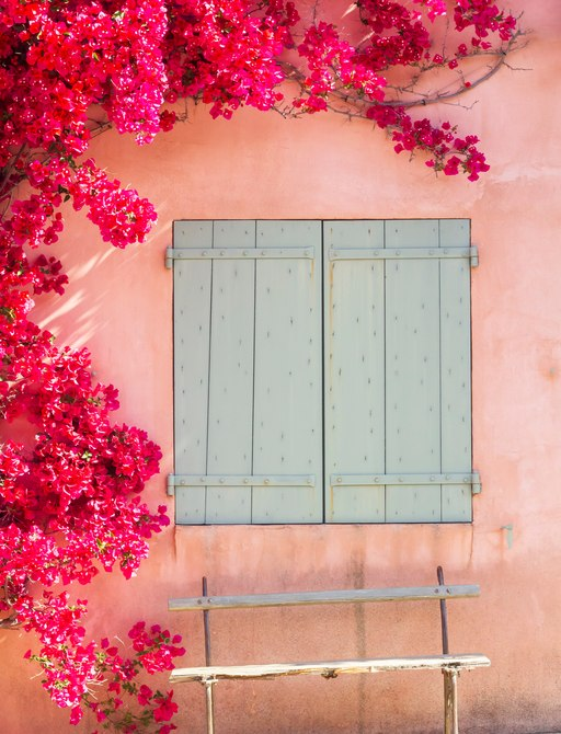 Close-up of a pink house in the Porquerolles, French Riviera