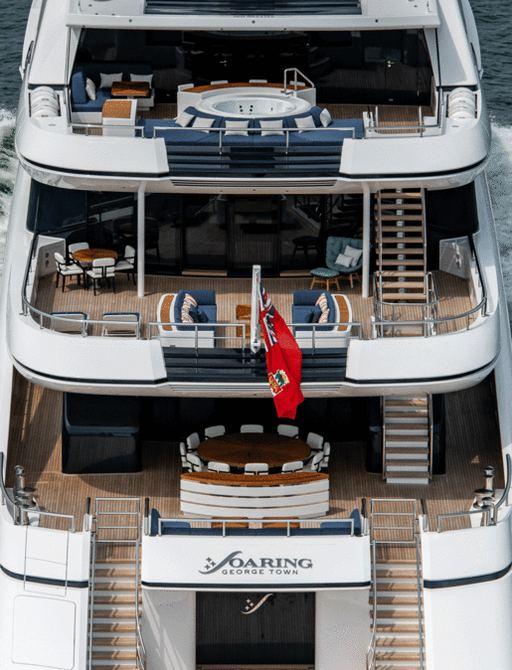 luxury yacht soaring aft decks