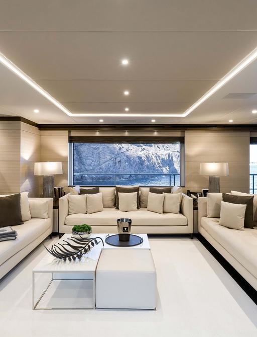 lounging area on benetti superyacht jacozami