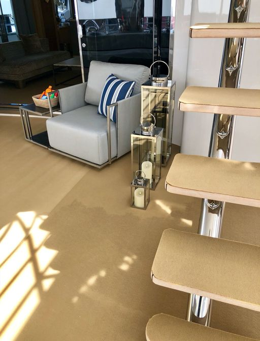 Protective carpeting on a yacht