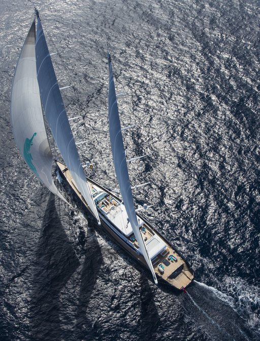 aerial image of superyacht aquijo on the water