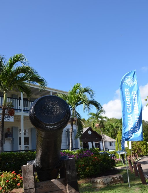 English Harbour with cannon at the Antigua Charter Yacht Show